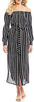 I.N. San Francisco Off-The-Shoulder Striped Midi Dress