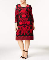 JM Collection Plus Size Lace-Print Dress, Created for Macy's