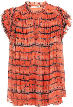 Ulla Johnson Ruffled Tie-dyed Silk-crepon Top