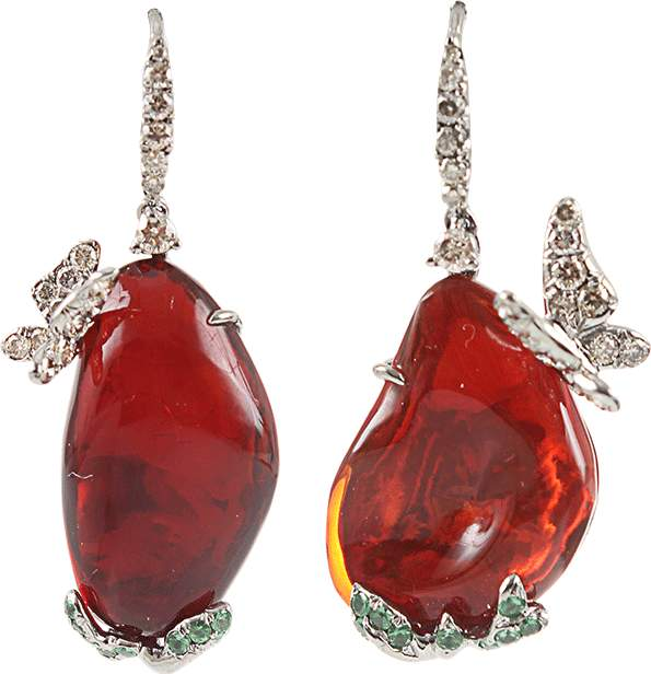 Arunashi Fire Opal Butterfly Earrings