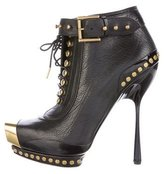 Alexander McQueen Leather Studded Ankle Boots