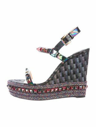Christian Louboutin Patent Leather Printed Espadrilles Black