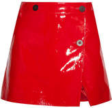 Topshop Patent-leather Wrap Mini Skirt - Red