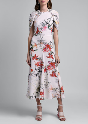 Alexander McQueen Floral-Print Cape-Sleeve Dress