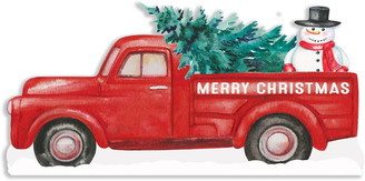 """Sixtrees Merry Christmas Cutout Truck - 7""""x14"""""""