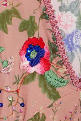 Anjuna Raffaella Embellished Floral-print Silk-chiffon Mini Dress