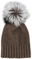 Inverni fox fur pom pom beanie