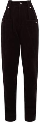Isabel Marant Derrisy High-rise Cotton-moleskin Trousers - Womens - Black