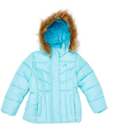 Aqua & Light Turquoise Quilted Puffer Jacket - Girls