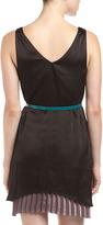 PJK Belted Two-Layer V-Neck Dress, Black/Brown