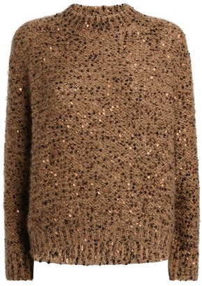 Brunello Cucinelli Sequinned Mohair-Wool Blend Sweater
