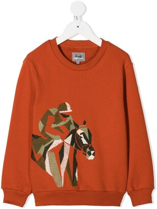 Il Gufo Jockey Embroidered Round Neck Sweatshirt
