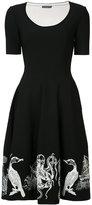 Alexander McQueen embroidered flared dress - women - Nylon/Polyester/Spandex/Elastane/Viscose - S