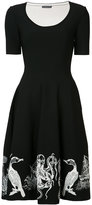 Alexander McQueen embroidered flared dress - women - Viscose/Polyester/Nylon/Spandex/Elastane - XS