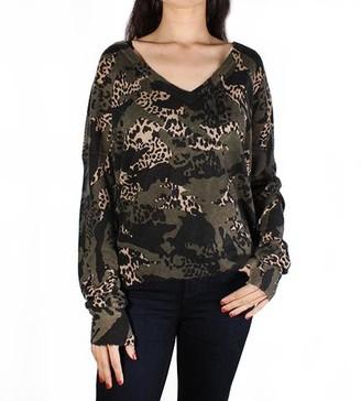 Zadig & Voltaire Brume Camo Print V-Neck Sweater