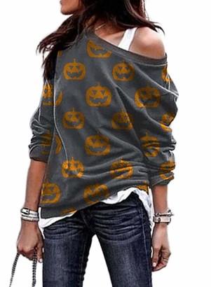 CORAFRITZ Womens Off Shoulder Sweatshirts Halloween Evil Pumpkin Sweatshirt Long Sleeve Graphics Print Pullover 2XL Light Gray