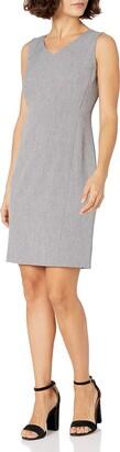 Kasper Women's Petite Size V Neck Dress Grey/Black 8P