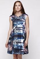 Yumi Sunset Print Party Dress Grey