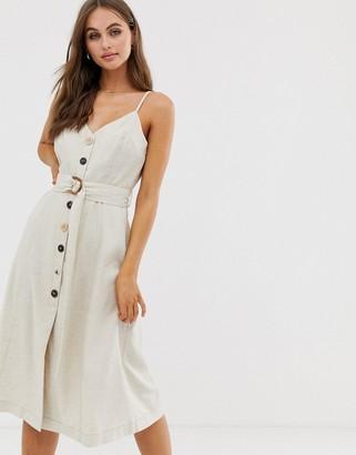 Moon River button front v-back midi dress