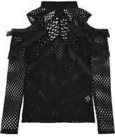 Self-Portrait Cutout Ruffled Organza-trimmed Guipure Lace Top - Black