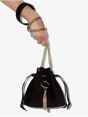 Jimmy Choo black Callie drawstring suede bucket bag