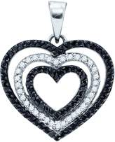Saris and Things 10kt White Gold Womens Round Colored Diamond Triple Nested Heart Pendant 5/8 Cttw