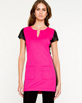 Le Château Leather-Like Knit and Trim Tunic