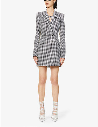 David Koma Houndstooth-pattern double-breasted cotton and wool-blend mini dress