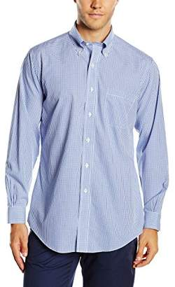 Brooks Brothers Men's Dress Non-Iron Botton Down Regent Mini Check Shirt Blue 22, (Neck in. 16 Sleeve in. 35)
