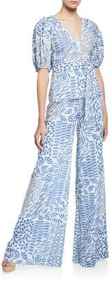 Alexis Warri Printed Tie-Waist Top
