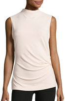 T Tahari Cecily Ruched High Neck Shell