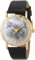 Whimsical Watches Kids' P0120039 Classic Himalayan Cat Black Leather And Goldtone Photo Watch