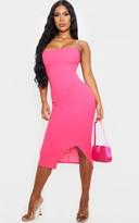 Panamafa Hot Pink Strappy Split Hem Midi Dress