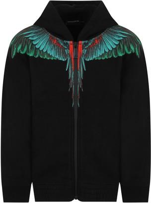 Marcelo Burlon County of Milan Black Sweatshirt For Kids With Iconic Wings