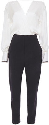 Brunello Cucinelli Cropped Bead-embellished Silk-satin And Wool-blend Twill Jumpsuit