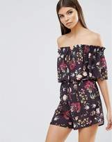 Oh My Love Off Shoulder Printed Tie Front Playsuit