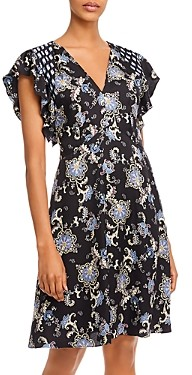Rebecca Taylor Floral Paisley Print V-Neck Dress
