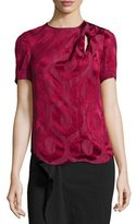 Isabel Marant Short-Sleeve Twisted-Keyhole Blouse, Raspberry