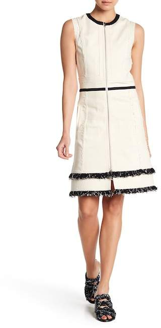 Derek Lam Layered Fringe Trim Sleeveless Dress