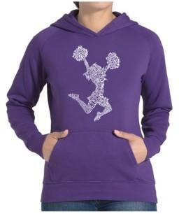 LA Pop Art Women's Word Art Hooded Sweatshirt -Cheer