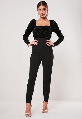 Missguided Black Velvet Bardot Romper