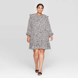 Who What Wear Women's Floral Print Plus Size Ruffle Long Sleeve Boat Neck Mini Shift Dress - Who What WearTM