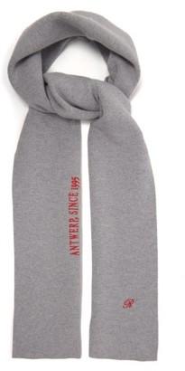 Raf Simons Logo-embroidered Wool-blend Scarf - Grey