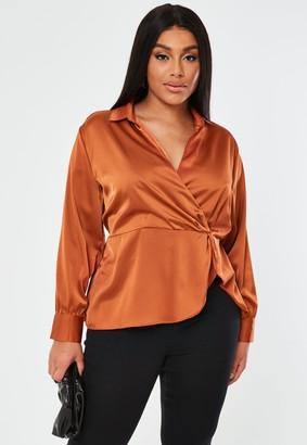 Missguided Plus Size Rust Satin Wrap Front Blouse