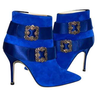 Manolo Blahnik Hangisi Blue Suede Ankle boots