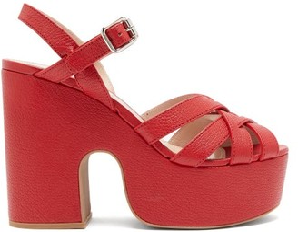 Miu Miu Crossover-strap Platform Leather Sandals - Womens - Red