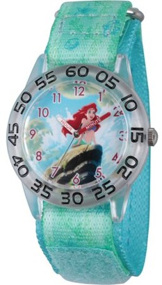 Disney Princess Ariel Girls' Clear Plastic Time Teacher Watch, Green Stretch Hook and Loop Nylon Strap with Printed Ariel