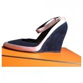 Hermes Blue Leather Heels