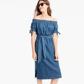 J.Crew Off-the-shoulder chambray dress with tie waist