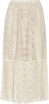 Anna Sui Silk Georgette-Paneled Lace Skirt